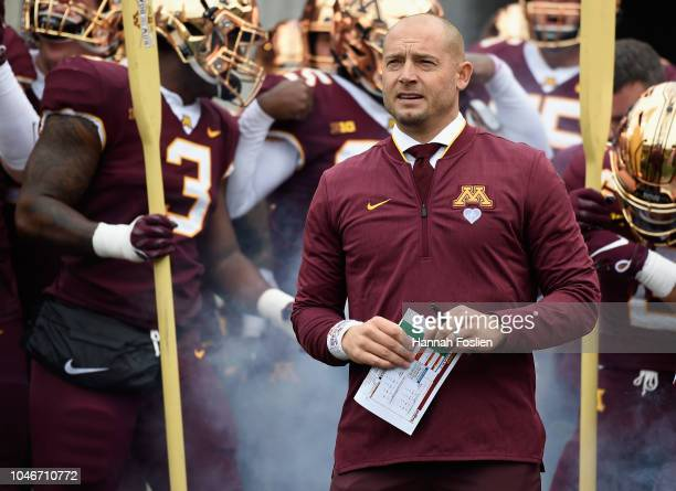 0174151f6be2e Head coach PJ Fleck of the Minnesota Golden Gophers looks on before the game  against the