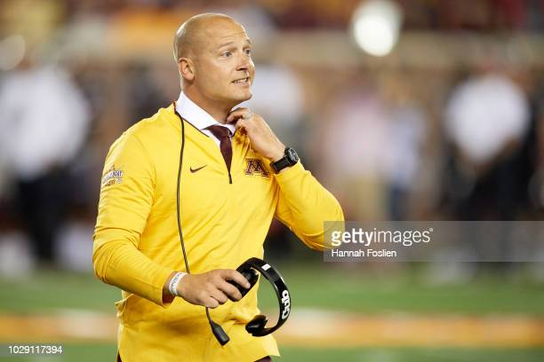 86ce26b929fa1 Head coach PJ Fleck of the Minnesota Golden Gophers looks on during the game  against the