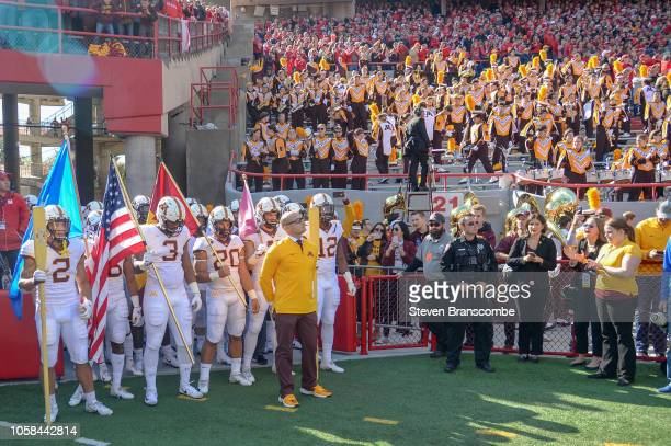 Head coach PJ Fleck of the Minnesota Golden Gophers waits to lead the team on the field before the game against the Nebraska Cornhuskers at Memorial...