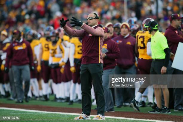 Head coach PJ Fleck of the Minnesota Golden Gophers yells on the sidelines during the second quarter against the Nebraska Cornhuskers at TCF Bank...