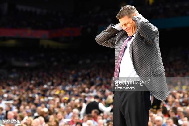 Head coach Porter Moser of the Loyola Ramblers reacts during the first half in the 2018 NCAA Photos via Getty Images Men's Final Four semifinal game...