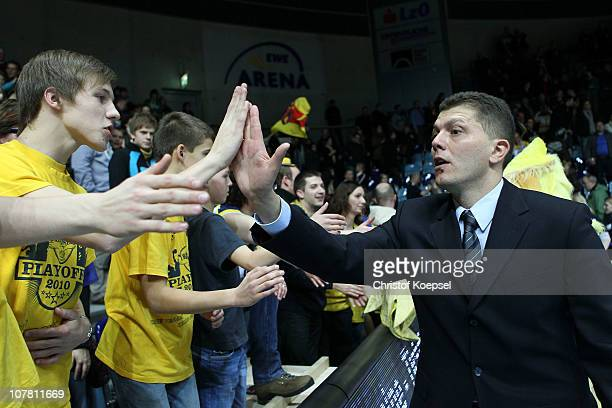 Head coach Predrag Krunic of Oldenburg celebrates the 84-79 victory after the Beko Basketball Bundesliga match between Ewe Baskets Oldenburg and...