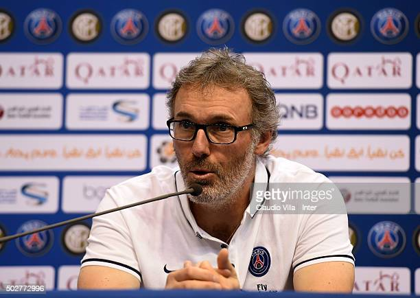 Head coach PSG Laurent Blanc attends during a press conference at Al Sadd Stadium on December 29 2015 in Doha Qatar