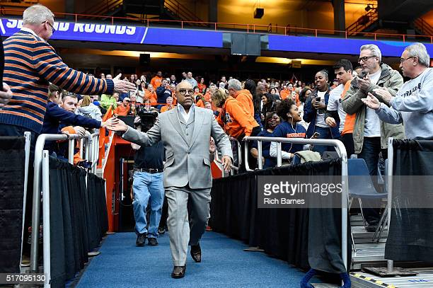 Head coach Quentin Hillsman of the Syracuse Orange walks to the court prior to the game against the Albany Great Danes in the second round of the...