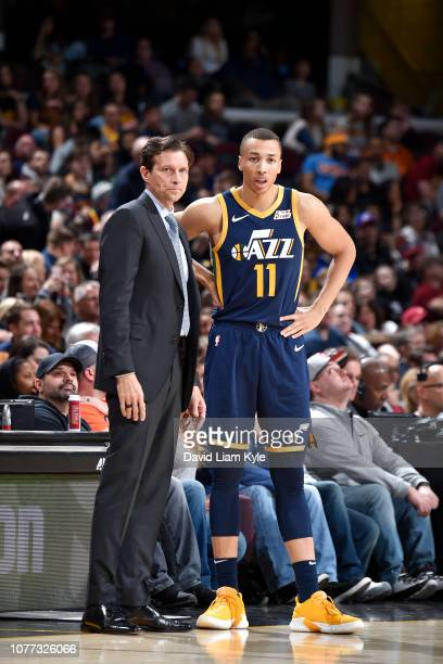 Head Coach Quin Snyder and Dante Exum of the Utah Jazz look on during the game against the Cleveland Cavaliers on January 4 2019 at Quicken Loans...