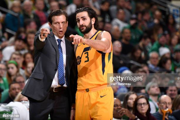 Head Coach Quin Snyder and Ricky Rubio of the Utah Jazz talk during the game against the Boston Celtics on December 15 2017 at the TD Garden in...