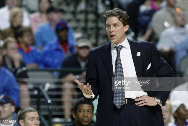 Head coach Quin Snyder of the University of Missouri Tigers reacts to the Phillips 66 Big XII Championships against the Oklahoma State University...