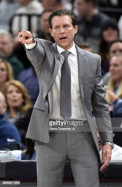 Head coach Quin Snyder of the Utah Jazz gestures from the sideline during their game against the Houston Rockets at Vivint Smart Home Arena on...