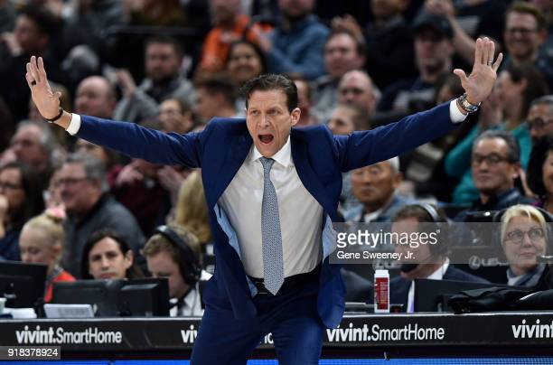 Head coach Quin Snyder of the Utah Jazz gestures on the sideline during the first half of a game against the Phoenix Suns at Vivint Smart Home Arena...