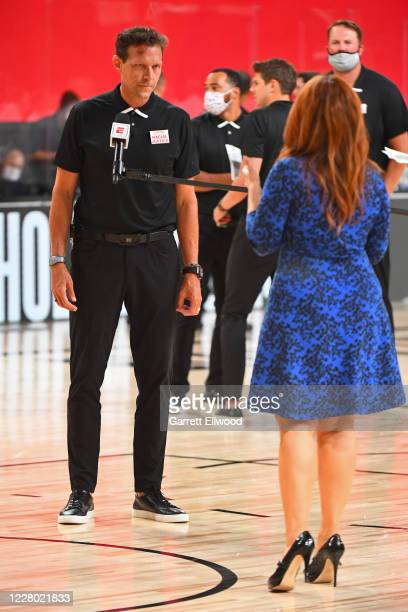 Head Coach, Quin Snyder of the Utah Jazz is interviewed by ESPN reporter, Rachel Nichols during the game against Los Angeles Lakers on August 3, 2020...