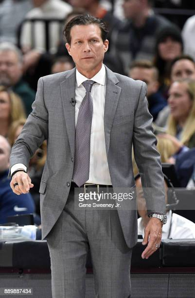 Head coach Quin Snyder of the Utah Jazz looks on the sideline during their game against the Houston Rockets at Vivint Smart Home Arena on December 7...