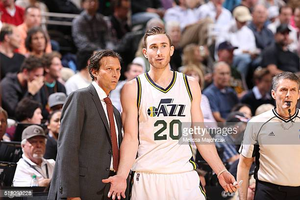 Head coach Quin Snyder of the Utah Jazz speaks with Gordon Hayward during the game against the San Antonio Spurs on April 5 2016 at Vivint Smart Home...