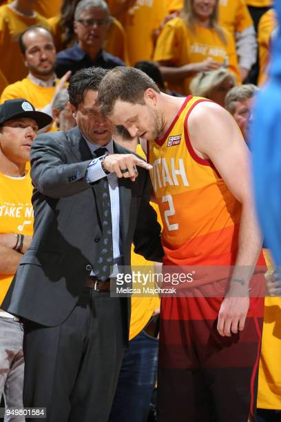 Head Coach Quin Snyder of the Utah Jazz speaks with Joe Ingles of the Utah Jazz during the game against the Oklahoma City Thunderin Game Three of...