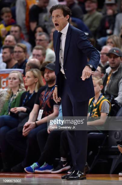 Head coach Quin Snyder of the Utah Jazz yells from the sideline in the first half of a NBA game against the San Antonio Spurs at Vivint Smart Home...