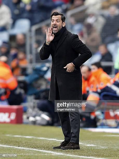 Head coach Quique Sanchez Flores of Getafe gestures before the La Liga match between Getafe CF and Real Madrid CF at Coliseum Alfonso Perez on...
