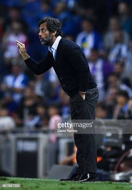 Head coach Quique Sanchez Flores of RCD Espanyol directs his players during the La Liga match between RCD Espanyol and Real Madrid CF at the RCDE...