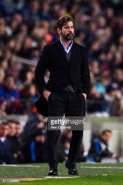 Head Coach Quique Sanchez Flores of RCD Espanyol looks on during the Spanish Copa del Rey Quarter Final Second Leg match between FC Barcelona and RCD...