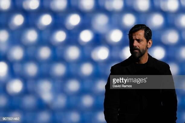 Head coach Quique Sanchez Flores of RCD Espanyol looks on prior to the La Liga match between Espanyol and Sevilla at Nuevo Estadio de CornellaEl Prat...
