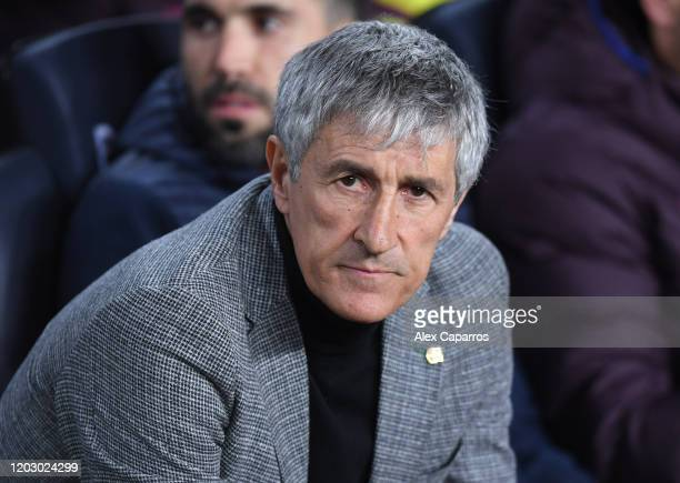 Head Coach Quique Setien of FC Barcelona looks on ahead of the Copa del Rey Round of 16 match between FC Barcelona and CD Leganes at Camp Nou on...