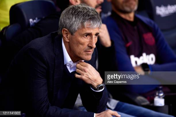 Head Coach Quique Setien of FC Barcelona looks on before the Liga match between FC Barcelona and Real Sociedad at Camp Nou on March 07 2020 in...