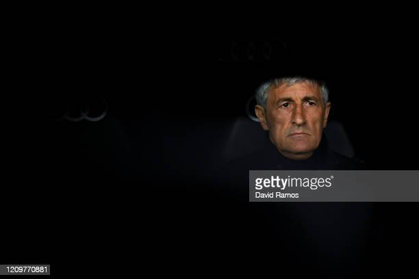 Head coach Quique Setien of FC Barcelona looks on during the Liga match between Real Madrid CF and FC Barcelona at Estadio Santiago Bernabeu on March...
