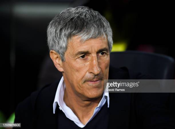 Head coach Quique Setien of FC Barcelona prior to the Liga match between FC Barcelona and Levante UD at Camp Nou on February 02 2020 in Barcelona...