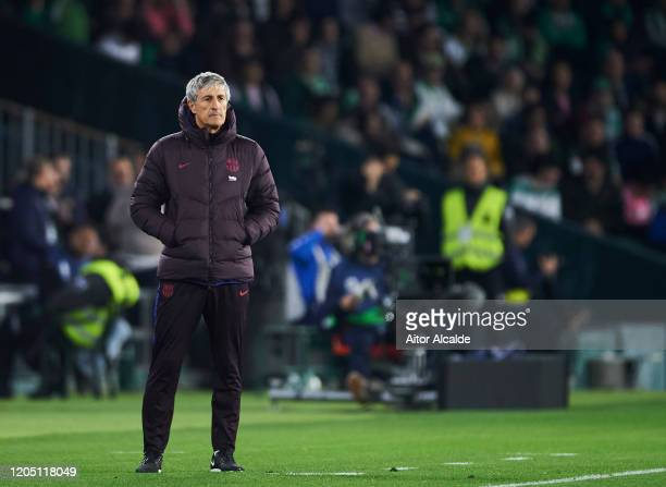Head coach Quique Setien of FC Barcelona reacts during the Liga match between Real Betis Balompie and FC Barcelona at Estadio Benito Villamarin on...