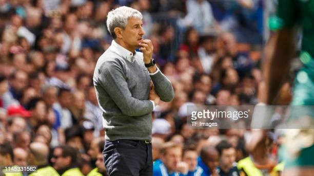 Head coach Quique Setien of Real Betis Balompie looks on during the La Liga match between Real Madrid CF and Real Betis Balompie at Estadio Santiago...