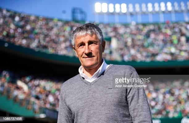 Head coach Quique Setien of Real Betis Balompie looks on prior to the start the La Liga match between Real Betis Balompie and SD Eibar at Estadio...