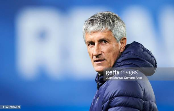 Head coach Quique Setien of Real Betis Balompie looks on prior to the start the La Liga match between Real Sociedad and Real Betis Balompie at...