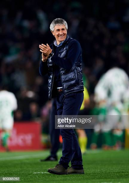 Head coach Quique Setien of Real Betis reacts during the La Liga match between Real Betis and Real Madrid at Benito Villamrin stadium on February 18...
