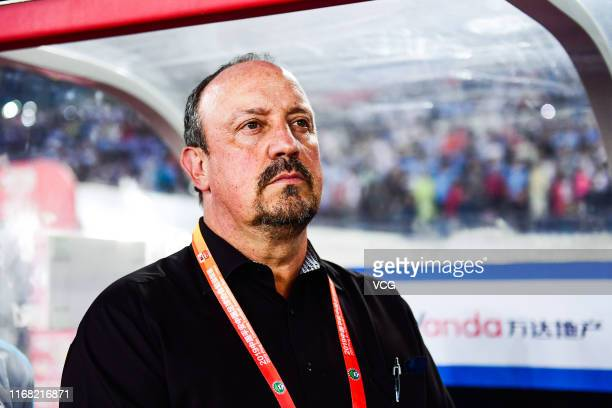 Head coach Rafa Benitez of Dalian Yifang looks on during the 2019 Chinese Football Association Super League 22nd round match between Dalian Yifang...