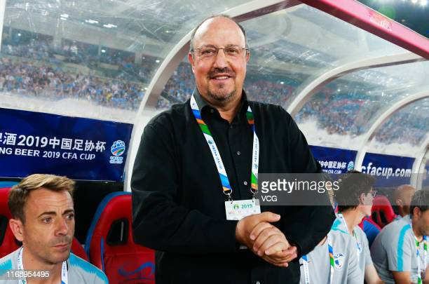 Head coach Rafa Benitez of Dalian Yifang looks on during the 2019 Chinese Football Association Cup semi-final match between Dalian Yifang and...