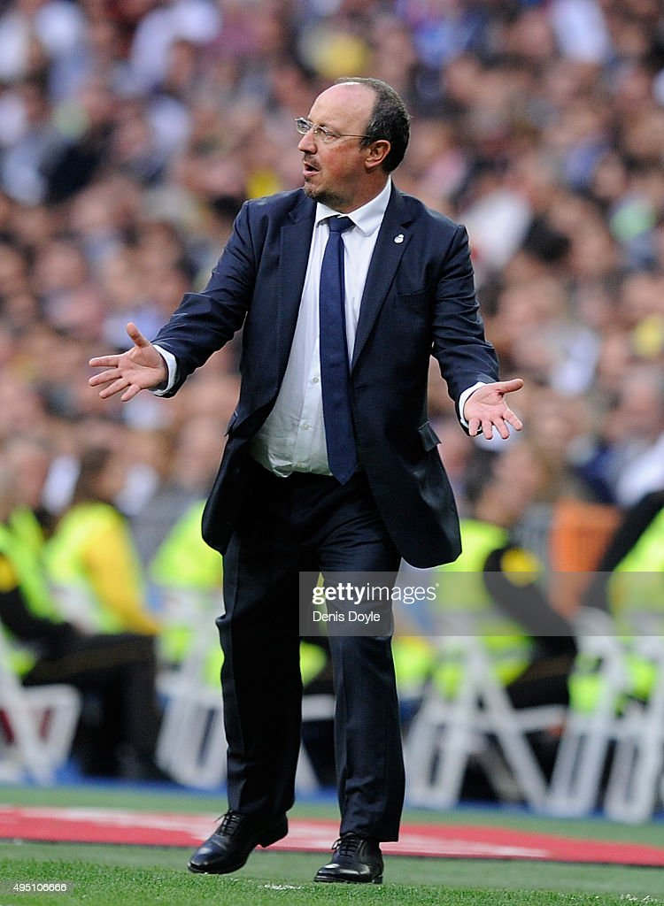 Head coach Rafa Benitez of Real Madrid reacts during the La Liga match between Real Madrid CF and UD Las Palmas at Estadio Santiago Bernabeu on October 31, 2015 in Madrid, Spain.