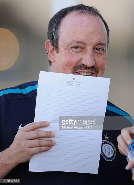 Head coach Rafael Benitez of FC Internazionale Milano looks on during the FC Internazionale Milano Training Session at the Armed Forces Stadium on...