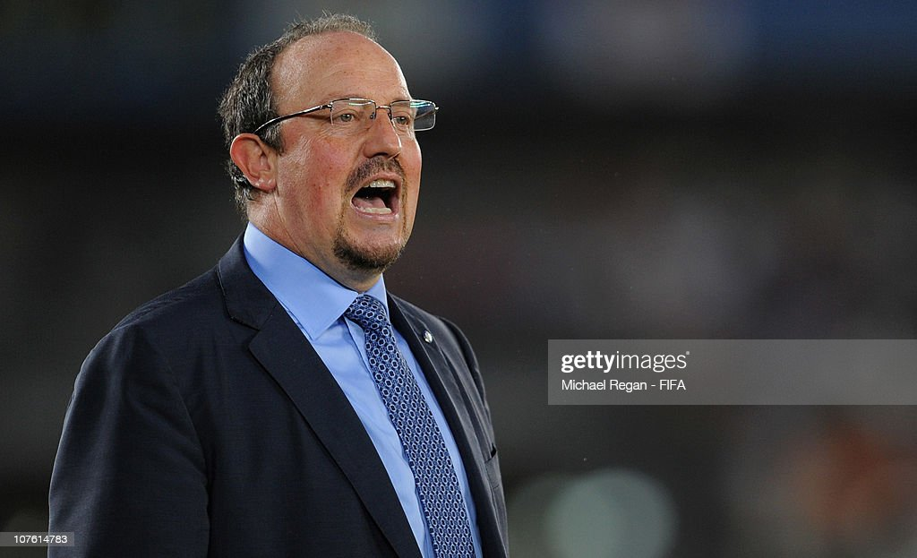 Head coach Rafael Benitez of FC Internazionale Milano shouts instructions during the FIFA Club World Cup match between Seongnam Ilhwa Chunma FC and Inter Milan at Zayed Sports City on December 15, 2010 in Abu Dhabi, United Arab Emirates.