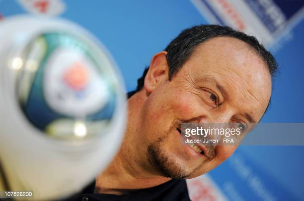 Head coach Rafael Benitez of FC Internazionale Milano smiles as he listens to questions from the media during his team arrival press conference at...