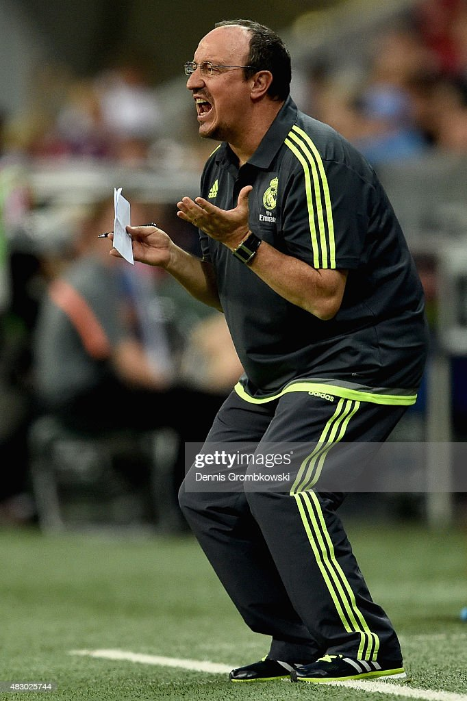 Head coach Rafael Benitez of Real Madrid reacts during the Audi Cup 2015 Final between FC Bayern Muenchen and Real Madrid at Allianz Arena on August 5, 2015 in Munich, Germany.