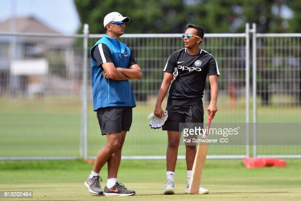 Head Coach Rahul Dravid and captain Prithvi Shaw of India look on during an India training session at Bay Oval on February 2 2018 in Tauranga New...