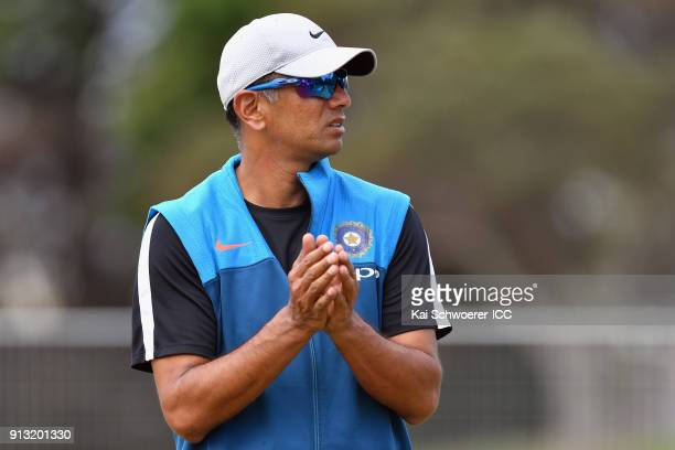 Head Coach Rahul Dravid of India looks on during an India training session at Bay Oval on February 2 2018 in Tauranga New Zealand