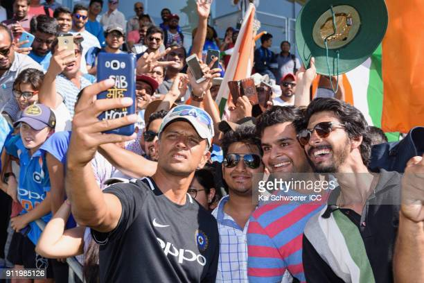 Head Coach Rahul Dravid of India poses for a selfie with fans after the win in the ICC U19 Cricket World Cup Semi Final match between Pakistan and...