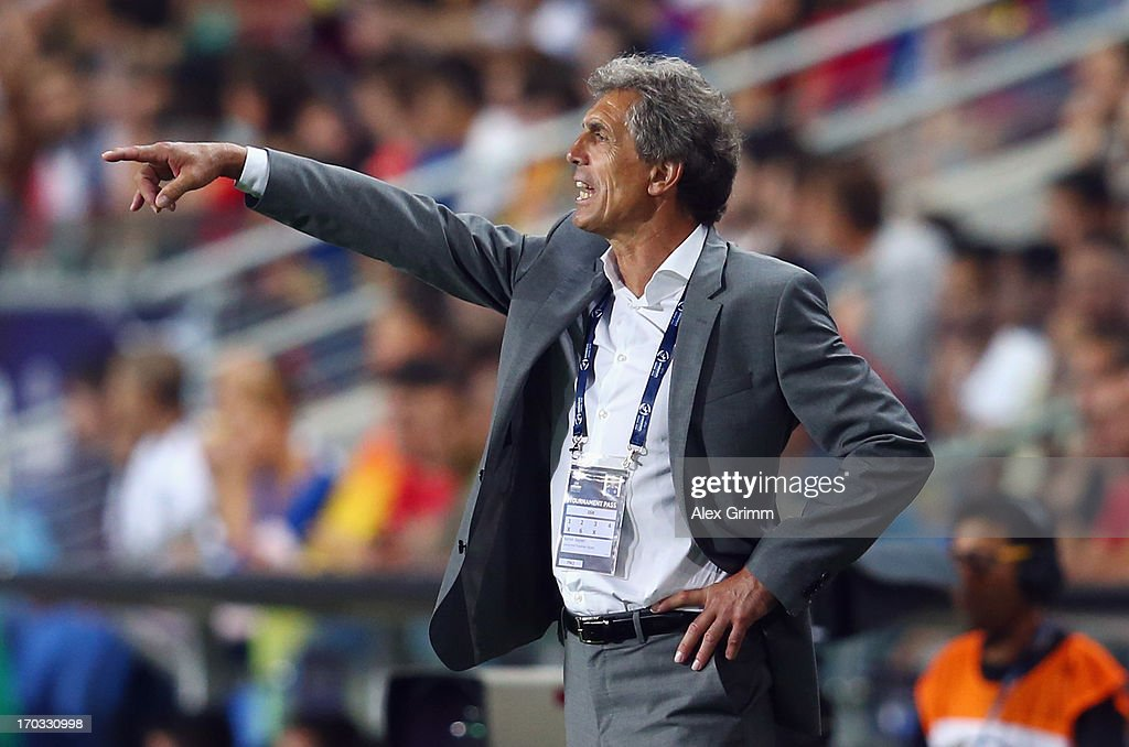 Head coach Rainer Adrion of Germany gestures during the UEFA European U21 Championship Group B match between Germany and Spain at Netanya Stadium on June 9, 2013 in Netanya, Israel.