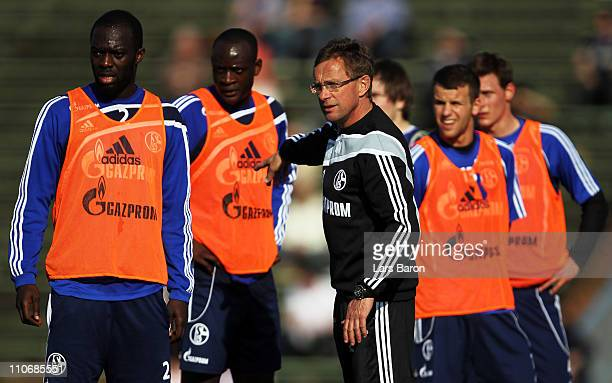 Head coach Ralf Rangnick gestures during a FC Schalke 04 training session at Parkstadium on March 23 2011 in Gelsenkirchen Germany