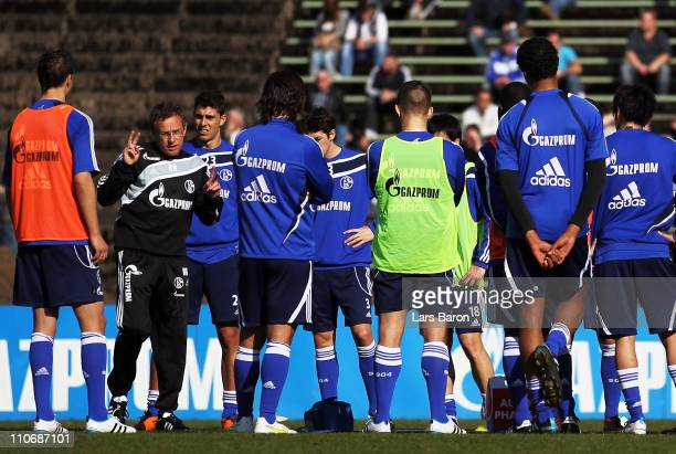 Head coach Ralf Rangnick gestures during a FC Schalke 04 training session at Parkstadium on March 23, 2011 in Gelsenkirchen, Germany.