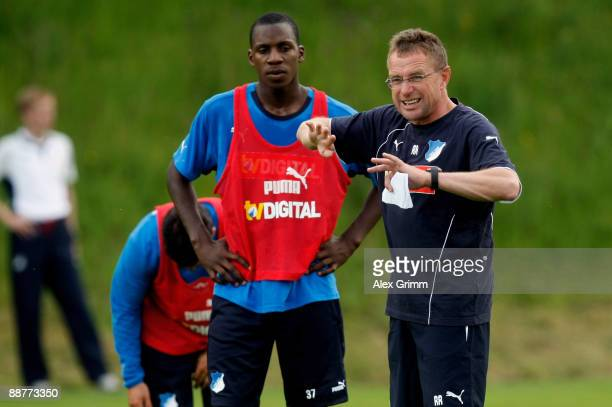 Head coach Ralf Rangnick gestures during a training session of 1899 Hoffenheim during a training camp on July 1, 2009 in Stahlhofen am Wiesensee,...