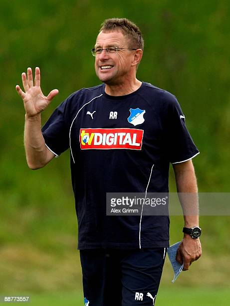 Head coach Ralf Rangnick gestures during a training session of 1899 Hoffenheim during a training camp on July 1 2009 in Stahlhofen am Wiesensee...