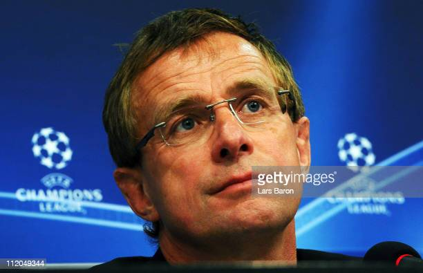 Head coach Ralf Rangnick looks on during a FC Schalke 04 press conference ahead of the UEFA Champions League quarter final second leg match against...