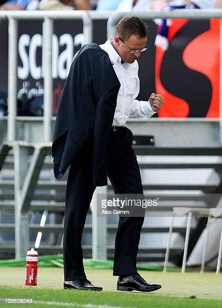 Head coach Ralf Rangnick of Hoffenheim celebrates after the Bundesliga match between 1899 Hoffenheim and Werder Bremen at the Rhein-Neckar Arena on...