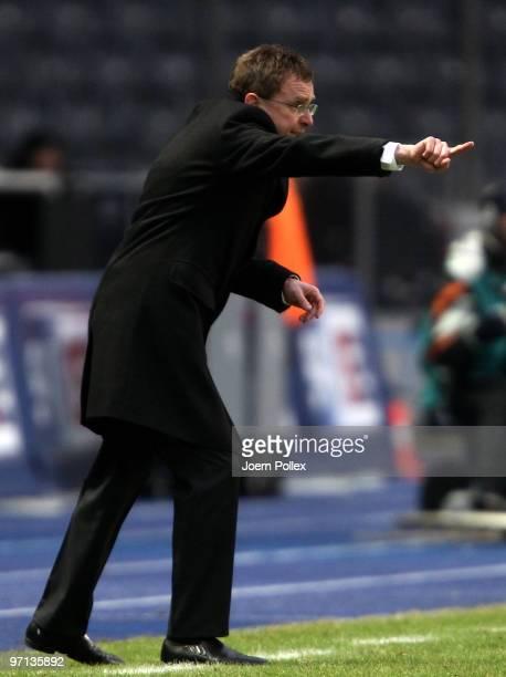 Head coach Ralf Rangnick of Hoffenheim gestures during the Bundesliga match between Hertha BSC Berlin v 1899 Hoffenheim at Olympic Stadium on...