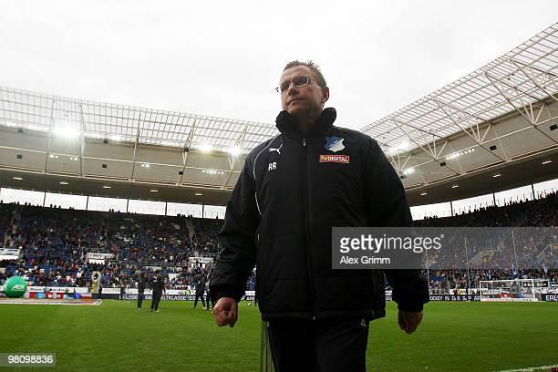 Head coach Ralf Rangnick of Hoffenheim is seen before the Bundesliga match between 1899 Hoffenheim and SC Freiburg at the Rhein-Neckar Arena on March...